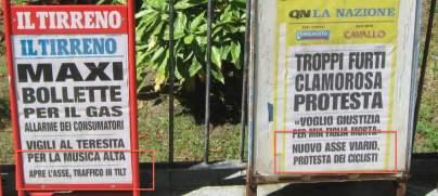 """Le reazioni dei giornali locali. Il Tirreno: """"Traffico in tilt"""" - La Nazione: """"Le proteste dei ciclisti"""""""