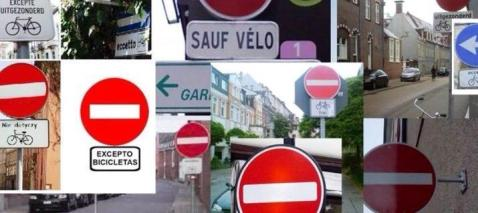 Qui la segnaletica stradale relativa al controsenso ciclabile in diversi paesi europei.