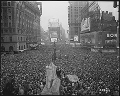 V-J Day in New York City. Crowds gather in Times Square to celebrate the surrender of Japan