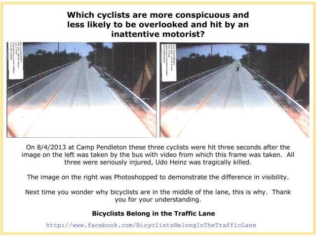 I tre ciclisti dell'immagine a sinistra sono stati investiti e feriti (uno ucciso). L'immagine di destra è stata modificata con Photoshop. In quale delle due immagini i ciclisti sono più visibili