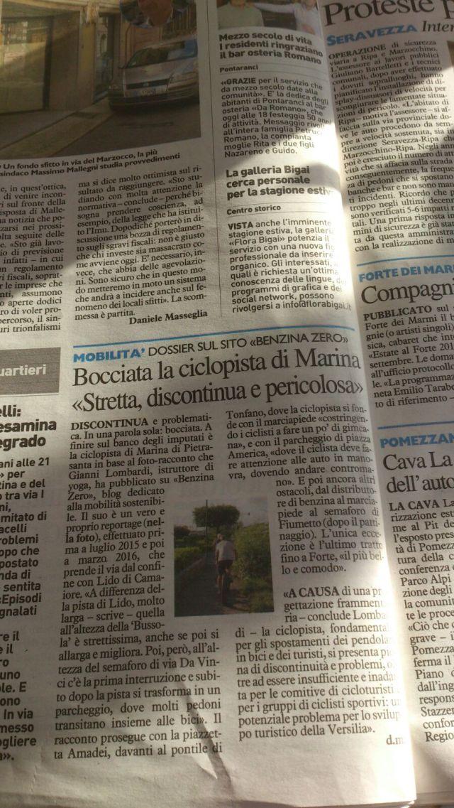 La Nazione 31 marzo 2016 articolo pista ciclabile Marina di Pietrasanta