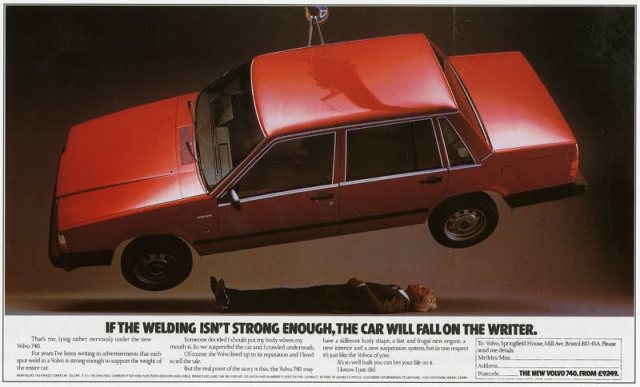classic volvo ad welding and writer
