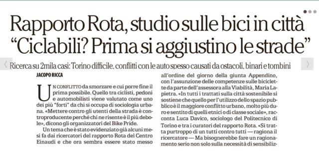Rapporto Rota studio biciclette ciclabilità Torino 2017 La Repubblica Jcopo Ricca 1