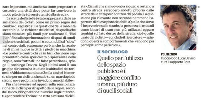Rapporto Rota studio biciclette ciclabilità Torino 2017 La Repubblica Jcopo Ricca 2