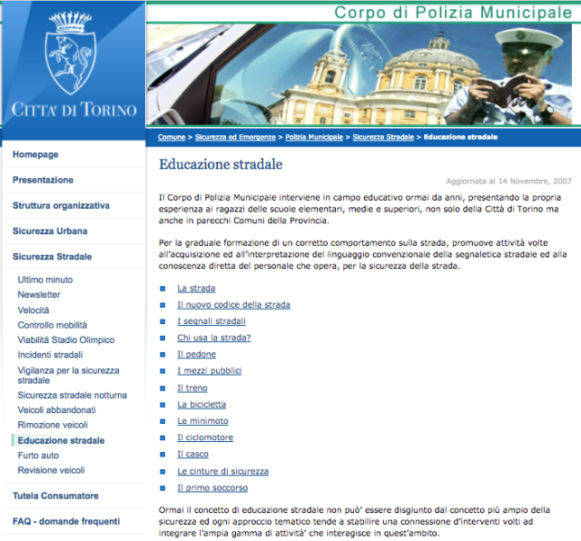 Corpo di Polizia Municipale Torino Sicurezza Stradale Screenshot 2017-10-16 16.31.31