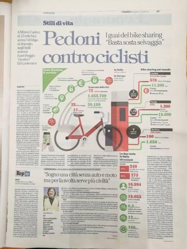 Pedoni contro ciclisti Repubblica 11 ottobre 2017
