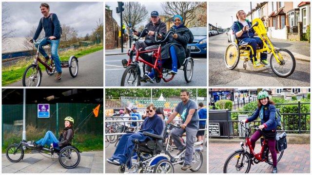 biciclette tricicli invalidi disabili carrozzina in bici