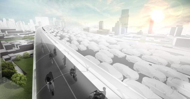 bmw pista ciclabile coperta traffico