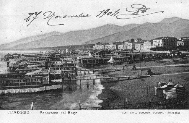 viareggio 1904 panorama bagni stabilimenti balneari