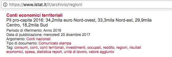 Istat pil pro capite 2016 regioni italiane Screenshot 2018-03-23 12.11.21