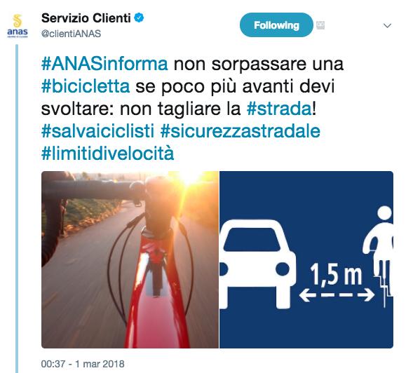 Sorpasso sicurezza ciclisti bicicletta metro e mezzo curva tagliare la strada Screenshot 2018-03-01 09.42.38