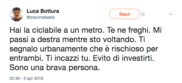 Tweet Luca Bottura 3 aprile 2018 incidente auto bici pista ciclabile Screenshot 2018-04-04 08.11.31