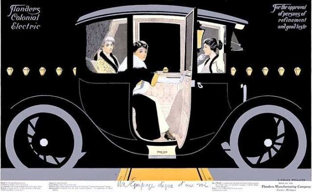 Advertisement for the Flanders Colonial Electric Motorcar - designed by Coles Phillips (1912)