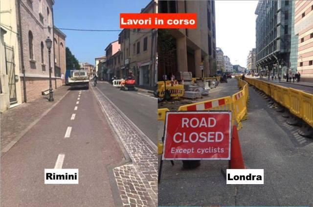 Lavori in corso confronto Rimini Londra pista ciclabile strada
