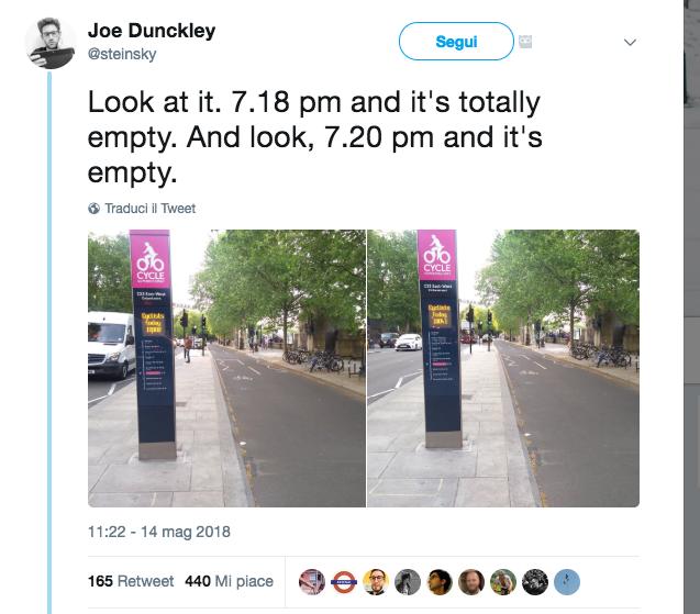 Screenshot 2018-05-15 08.05.06 Joe Dunckley tweet bike lane empty