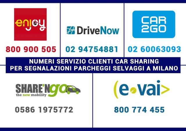 numeri telefonici car sharing segnalazioni parcheggio selvaggio