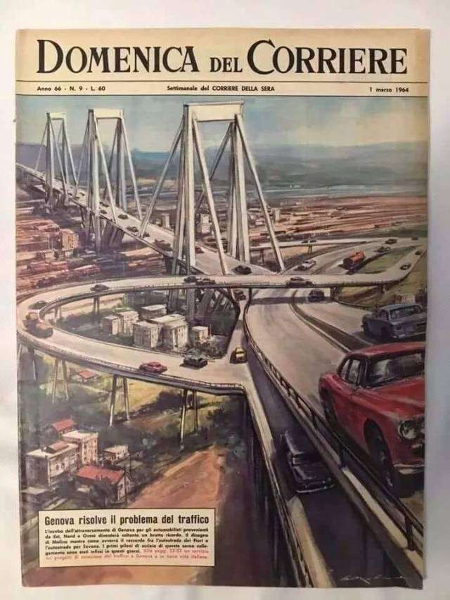 Domenica del Corriere 1964 Genova risolve promblema traffico ponte Morandi progetto