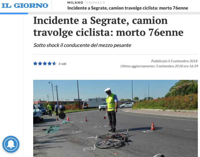 Screenshot 2018-09-05 09.49.29Incidente a Segrate camion travolge ciclista morto 76enne