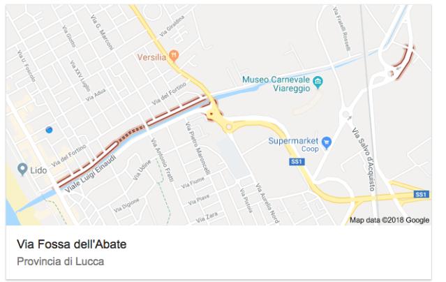 via Fossa dell'Abate viale Einaudi Lido di Camaiore Viareggio Screenshot 2018-10-25 09.38.48
