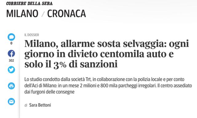 Screenshot 2018-12-18 17.26.37 Milano allarme sosta selvaggia corriere della sera dicembre 2018