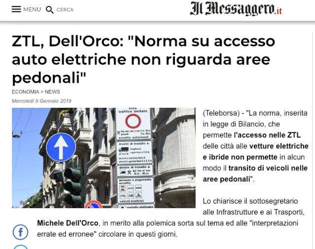 Screenshot 2019-01-09 16.59.08 ZTL, Dell'Orco Norma su accesso auto elettriche non riguarda aree pedonali Messaggero.png