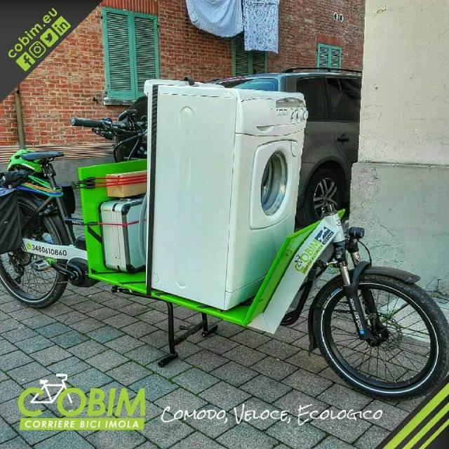 cobim Imola corriere bici cargo bike lavatrice