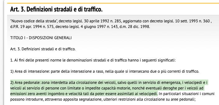 Codice della strada articolo 3 comma 2 aree pedonali Screenshot 2019-04-17 10.39.50